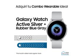 Combo Galaxy Watch Active Silver con Rubber Blue Gray