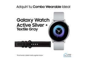 Combo Galaxy Watch Active Silver con Textile Gray